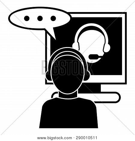 Online Seminar Icon. Simple Illustration Of Online Seminar Vector Icon For Web Design Isolated On Wh