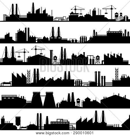 Factory Construction Silhouette. Industrial Factories, Refinery Panorama And Manufacture Buildings S