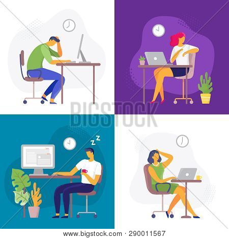 Working Late. Overtime Work, Busy Workaholic Worker And Employees With Office Laptops. Deadline Flat