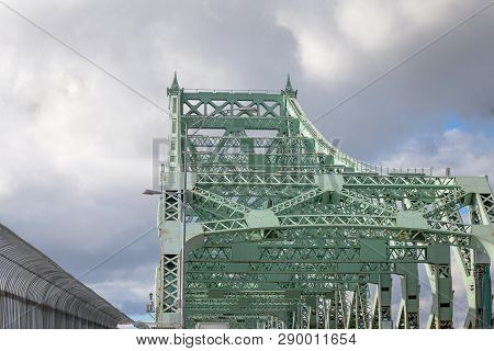 Detail Of Pont Jacques Cartier Bridge Taken In Longueuil In The Direction Of Montreal, In Quebec, Ca