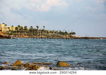 Sea Waves Amongst Rocky Beach, Cyprus, Paphos,