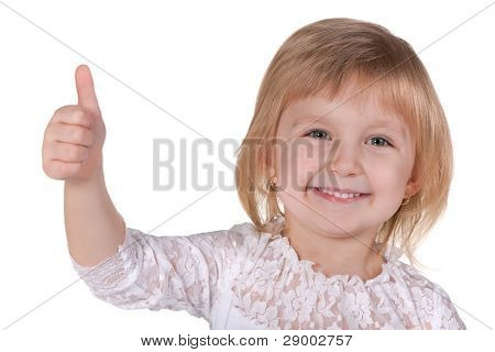 Happy Blonde Girl Holding Thumb Up