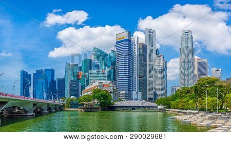 Singapore, Singapore - APRIL 3, 2019: View at Singapore City Skyline, which is the iconic landmarks of Singapore