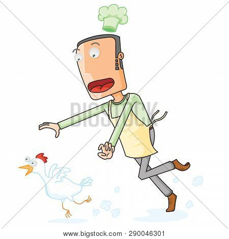 A Chef Catching A Running White Chicken