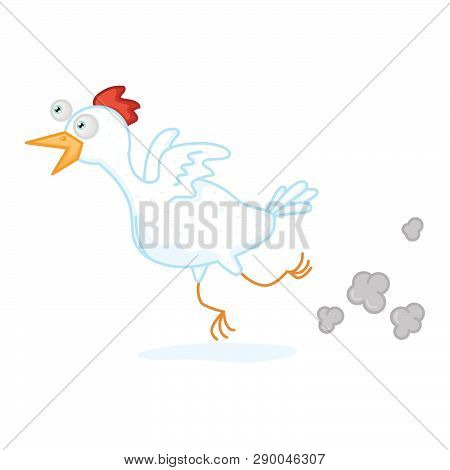 An I Illustration Of A Running White Chicken