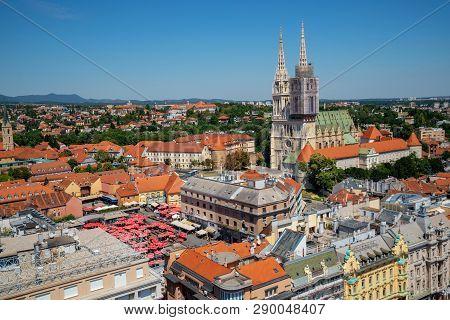 Aerial View Zagreb City, Capital Of Croatia.