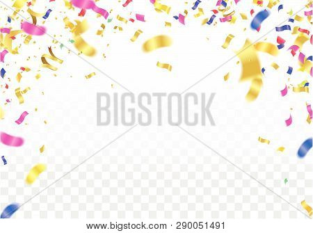 Vector Party, Celebration For Anniversary Border With Colorful Hanging Garlands, Streamers And Ballo