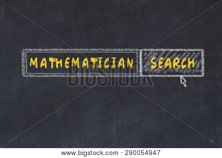 Chalk Board Sketch Of Search Engine. Concept Of Searching For Mathematician