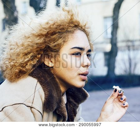 Young Pretty Girl Teenage Outside Smoking Cigarette Close Up, Looking Like Real Junky, Social Issues