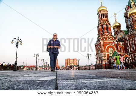 View Of The Blagoveshchenskaya Spasskaya Chirch On The Square Of Yoshkar-ola City In Russia