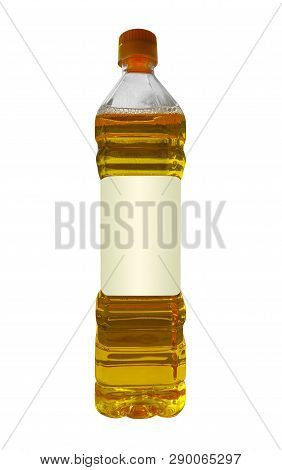 Vegetable Or Sunflower Oil In Plastic Bottle Isolated On White. Clipping Path Included.