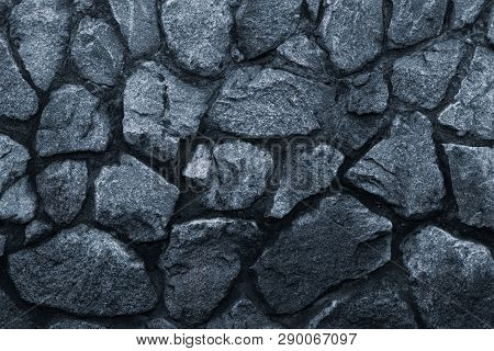 Dark Gray Stone Wall, Great Design For Any Purposes. Grey Wall Background Grunge Texture. Dark Gray