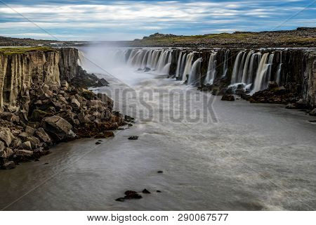 Amazing Scenery Of Selfoss Waterfall In Iceland.