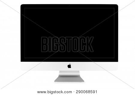 UKRAINE, RIVNE, 4 March, 2019. Apple Computer iMac 27 retina display 5K keyboard and magic mouse isolated on a white background