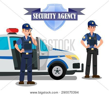 Security Agency Officers Task Banner Template. Bodyguards And Police Car Flat Vector Illustration. S