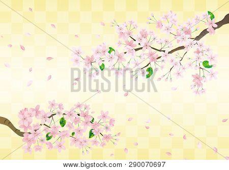 Pink Sakura Flower On Gold Japanese Celebration Background