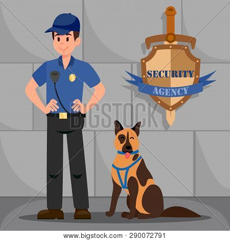 Man In Police Uniform With German Shepherd. Police Officer And Dog. Policeman With Walky Talky And K