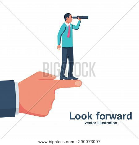 Look Forward. Vision Business Concept. Successful Businessman Looking In Telescope, Seeing Future. V