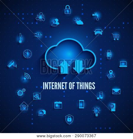 Internet Of Things. Iot Concept. Cloud And Other Icons Iot Concept. Global Network Technology Intern