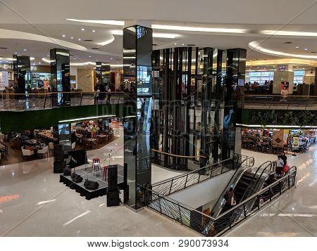 Jakarta, Indonesia - February 16, 2019: Interior Of Fx Sudirman Mall In Senayan District.