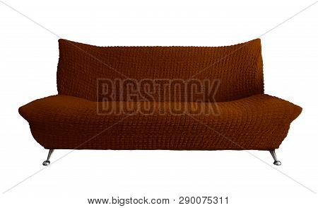 Brown Sofa Isolated On White. Clipping Path Included.