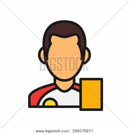 Football Player With Foul Card. Simple Illustration Outline Style Sport Symbol.