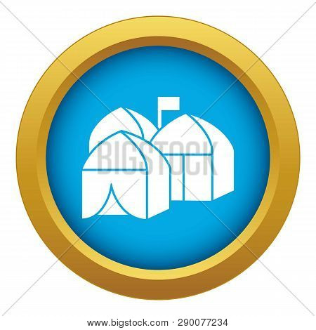 Refugee Tent City Icon Blue Vector Isolated On White Background For Any Design