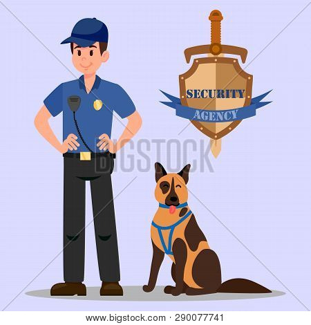 Guardian And Service Dog Flat Vector Illustration. Policeman With Walky Talky And K-9 Dog Cartoon Ch