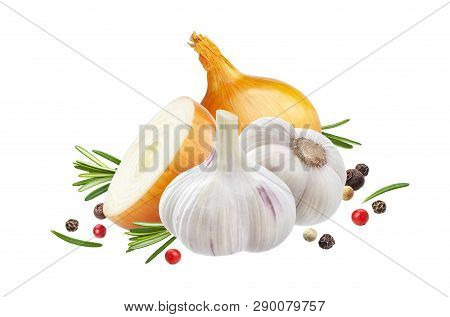 Garlic, Onion And Rosemary Herb Isolated On White Background