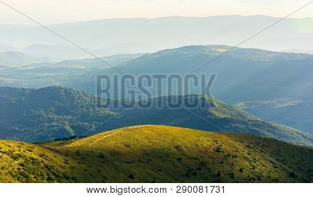 Beautiful Mountain Landscape In Summer Afternoon. Grassy Alpine Meadows On Top Of Forested Rolling H