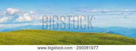 Panorama Of A Mountain Landscape In Summer. Beautiful Scenery With Fluffy Clouds Above The Distant B