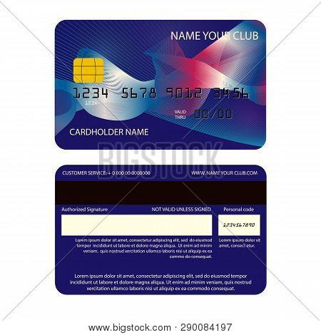 Realistic Plastic Card For Club Members With Protection Attributes
