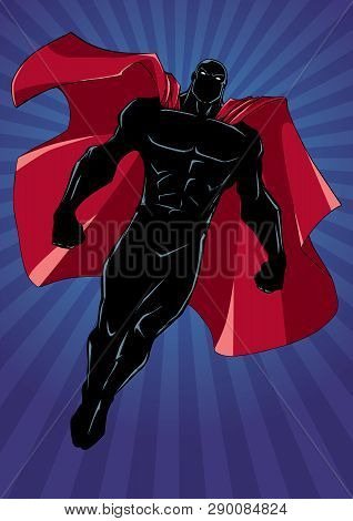 Full Length Silhouette Illustration Of Powerful Superhero Looking Down While Soaring Over Abstract B