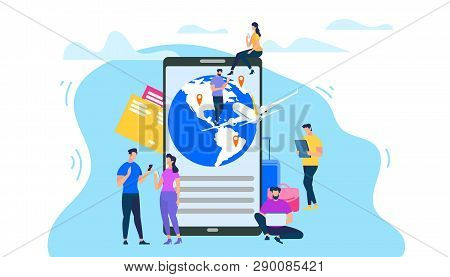 Mobile Services For Tourists Flat Vector Concept Isolated On White Background. Traveling People Sear