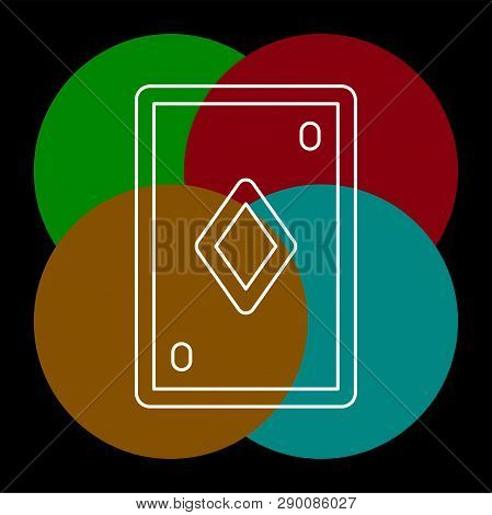 Playing Card Illustration - Casino Symbol - Playing Cards Sign. Thin Line Pictogram - Outline Editab