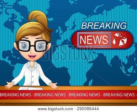Illustration Of Newsreader Is Broadcasting On Tv