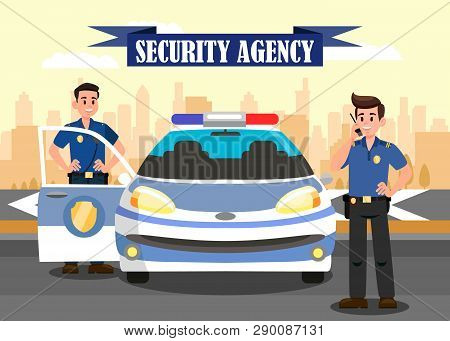 Security Agency Advertising Flat Banner Template. Police Officers and Car Vector Illustration. Bodyguards Cartoon Characters. Ribbon with Lettering. Guardians at work and Cityscape Poster poster