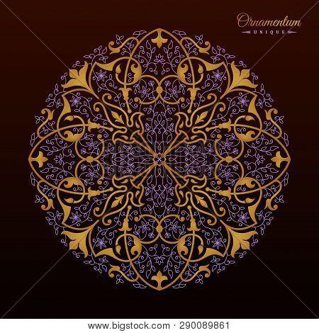 Vintage Luxury Decorative Design Of Golden Mandala. Vector Background For Greeting Card