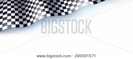Car Race Or Motorsport Rally Flag On White. Checkered Flag For Car Or Motorsport Rally. Three Dimens