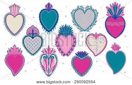Set Sacred Mexican Spirit Color. Soul Symbol Religion. Decoration Emblem Holy Heart.sacramental Reli