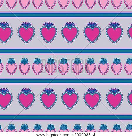 Seamless Pattern Sacred Mexican Spirit Color. Soul Symbol Religion. Decoration Emblem Holy Heart.sac