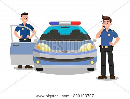 Police Officers With Walky Talky Cartoon Character. Bodyguards And Police Car Flat Vector Illustrati
