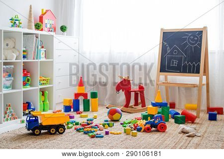 Childrens Playroom With Plastic Colorful Educational Blocks Toys. Games Floor For Preschoolers Kinde