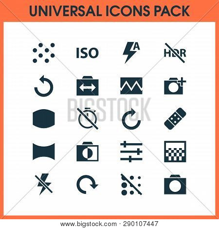 Image Icons Set With Tune, Pattern, Rotate And Other Photography Elements. Isolated  Illustration Im