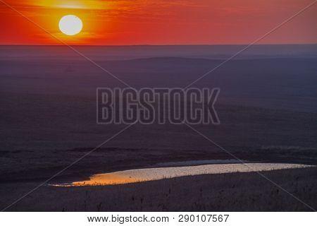 Sunset Over The Flint Hills Of Kansas