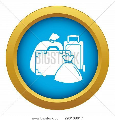 Migrant refugee bags icon blue vector isolated on white background for any design poster