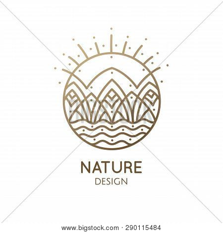 Nature Logo Of Mountains, River, Sun. Abstract Linear Icon Of Landscape. Vector Round Emblem, Badge
