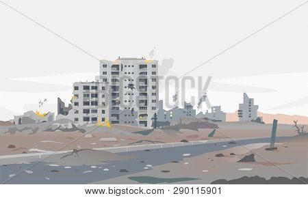 Destroyed City Concept Landscape Background Illustration, Building Between The Ruins And Concrete, W
