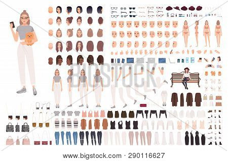 Stylish Young Woman Animation Set Or Constructor Kit. Collection Of Body Parts, Gestures, Trendy Clo