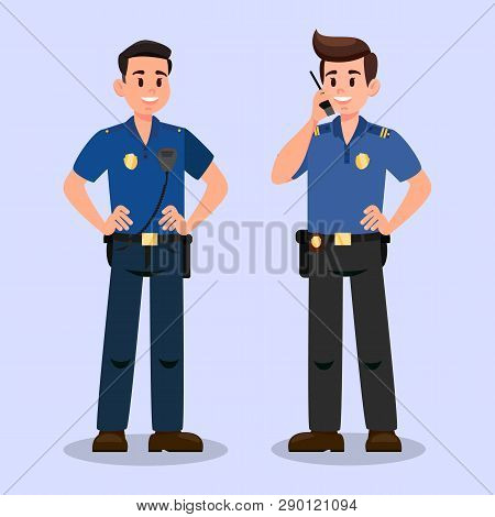 Two Guardians with Walky Talky Cartoon Characters. Bodyguards Communication Flat Vector Illustration. Security Service Workers. Policemen cooperation. Police Officers at work Isolated Design Element poster